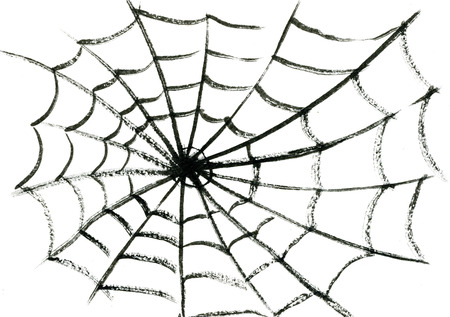 spider cartoon: Art freehand watercolor sketch outline illustration of one black halloween holiday spiders fragile cobweb on white empty background Stock Photo