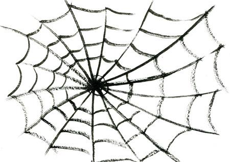 Kunst uit de vrije hand waterverfschets schets illustratie van fragiele spinneweb één zwarte halloween spin op witte lege achtergrond