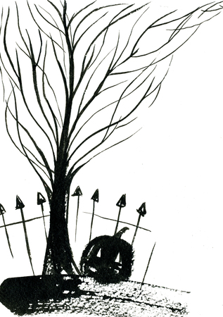 freehand: Art freehand watercolor sketch outline illustration of black halloween holiday pumpkin with scary face fence bare tree on graveyard on white background, vertical picture Stock Photo