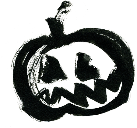 cucurbit: Art freehand watercolor sketch outline illustration of one black halloween holiday pumpkin with scary face on white background, square picture