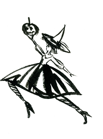 capote: Art freehand watercolor sketch outline illustration of one black halloween holiday symbol charackter of dancing witch in dress and hat with pumpkins on white background, vertical picture