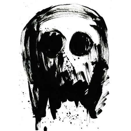 eye hole: Art freehand watercolor sketch outline illustration of one black halloween holiday human skull with eyes as pirates symbol on white background, square picture Stock Photo
