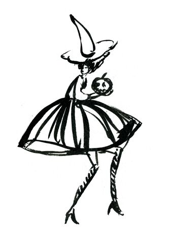 capote: Art freehand watercolor sketch outline illustration of one black halloween holiday symbol charackter of funny witch in dress and hat with pumpkins on white background, vertical picture