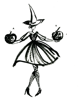 full length woman: Art freehand watercolor sketch outline illustration of one black halloween holiday symbol charackter of funny witch in dress and hat with pumpkins on white background, vertical picture
