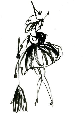 full length woman: Art freehand watercolor sketch outline illustration of one black halloween holiday symbol charackter of funny witch in dress and hat with broom on white background, vertical picture Stock Photo
