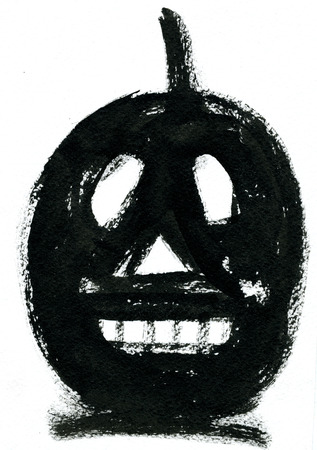 cucurbit: Art freehand watercolor sketch outline illustration of one black halloween holiday pumpkin with funny face on white background, vertical picture