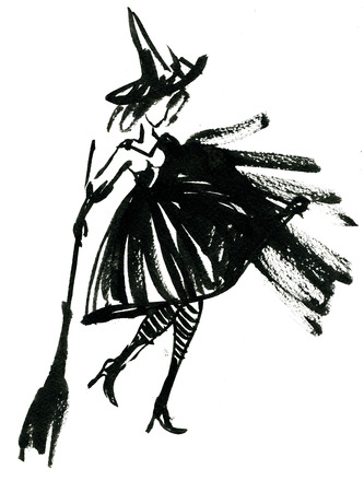 capote: Art freehand watercolor sketch outline illustration of one black halloween holiday symbol charackter of funny witch in dress and hat with broom on white background, vertical picture Stock Photo