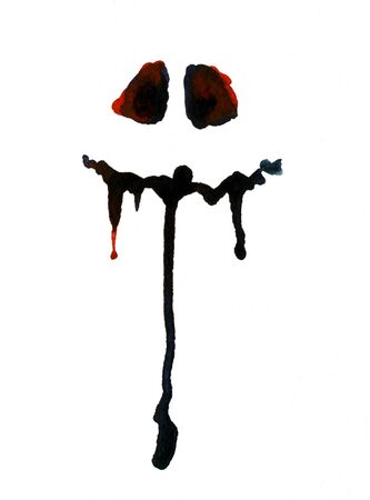 holiday symbol: Art freehand watercolor sketch outline illustration of one black halloween holiday symbol object of bloody face on white background, vertical picture Stock Photo