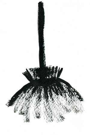 holiday picture: Art freehand watercolor sketch outline illustration of one black halloween holiday symbol object of broom for witch on white background, square picture
