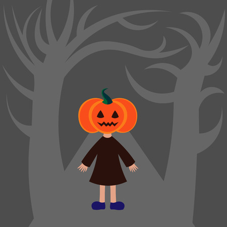 one girl: Beautiful art creative colorful halloween holiday wallpaper vector illustration of one girl with orange pumpkin head standing in forest on grey background