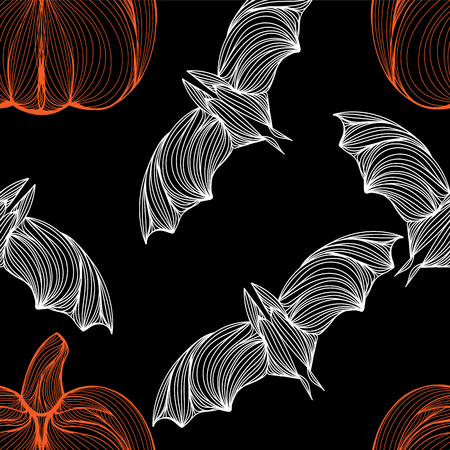 jointless: Beautiful art creative colorful halloween holiday wallpaper vector illustration of many white flying bats and orange pumpkins on black seamless background