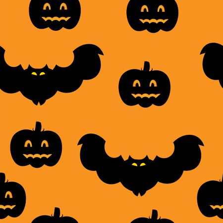 flying bats: Beautiful art creative colorful halloween holiday wallpaper vector illustration of many black flying bats and pumpkins on orange seamless background