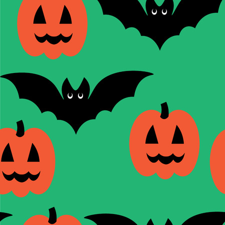 flying bats: Beautiful art creative colorful halloween holiday wallpaper vector illustration of many black flying bats and orange pumpkins on green seamless background
