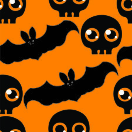 jointless: Beautiful art creative colorful halloween holiday wallpaper vector illustration of many grey flying bats and black skulls on orange seamless background