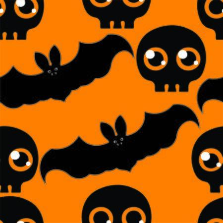 flying bats: Beautiful art creative colorful halloween holiday wallpaper vector illustration of many grey flying bats and black skulls on orange seamless background