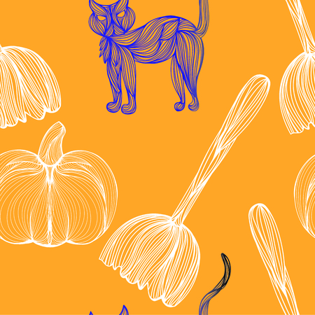 jointless: Beautiful art creative colorful halloween holiday wallpaper vector illustration of many blue cat white pumpkins and broom on orange seamless background Illustration