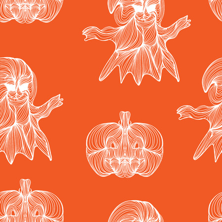 jointless: Beautiful art creative colorful halloween holiday wallpaper vector illustration of many white ghosts and pumpkins on orange seamless background