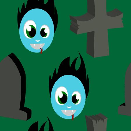 jointless: Beautiful art creative colorful halloween holiday wallpaper vector illustration of many grey crosses tombs and blue face zombie on green seamless background Illustration