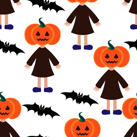 jointless: Beautiful art creative colorful halloween holiday wallpaper vector illustration of many black flying bats and girls with orange pumpkin face on white seamless background