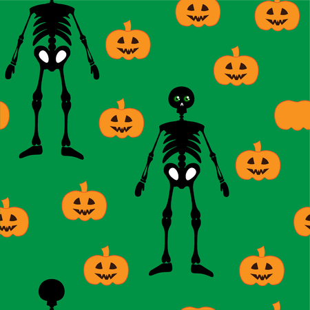 jointless: Beautiful art creative colorful halloween holiday wallpaper vector illustration of many black skeleton and orange pumpkins on green seamless background