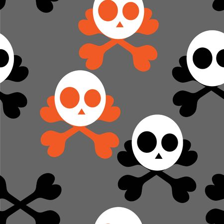 jointless: Beautiful art creative colorful halloween holiday wallpaper vector illustration of many white skulls and orange black bone crosses on grey seamless background