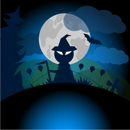 spit: Beautiful art creative colorful halloween holiday vector illustration of death in hat with spit standing at night in grave yard on cloudy sky and round white moon background