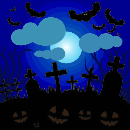 Beautiful art creative colorful halloween holiday vector illustration of dark grave yard with crosses tomb fluing bat animals on cloudy blue sky and roung white moon background