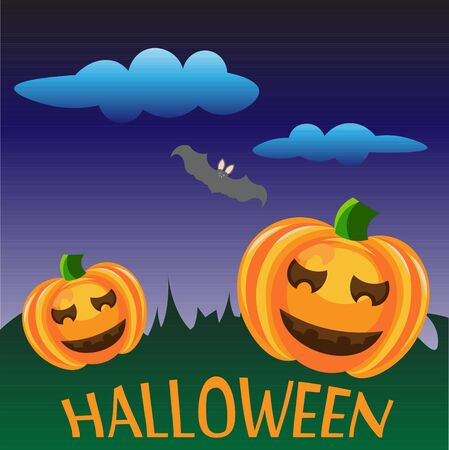 flying bats: Beautiful art creative colorful halloween holiday wallpaper vector illustration of cover with green grass otange pumpkis on blue cloudy sky with flying bats background