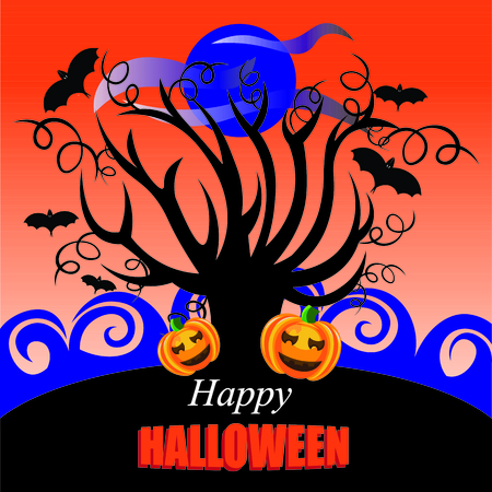 flying bats: Beautiful art creative colorful halloween holiday wallpaper vector illustration of cover with one black bare tree pumpking with horror faces flying bats and blue moon on orange background
