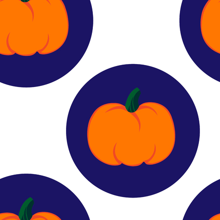 jointless: Beautiful art creative colorful halloween holiday wallpaper vector illustration of many orange pumpkin in big blue rounds on white seamless background