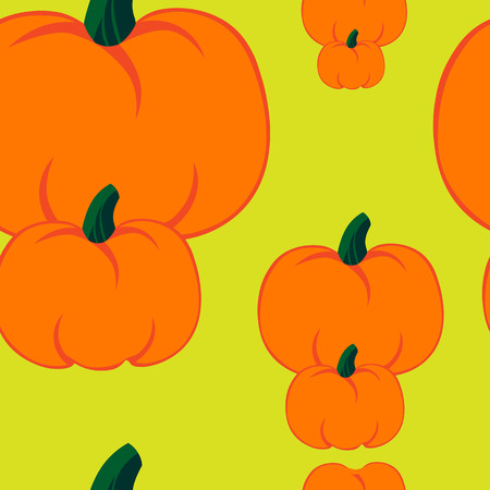 jointless: Beautiful art creative colorful halloween holiday wallpaper vector illustration of many orange pumpkins on light yellow seamless background