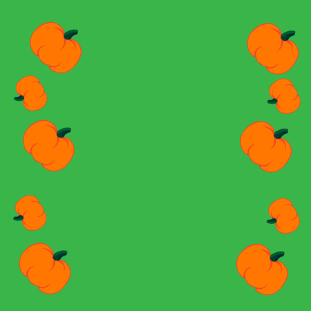jointless: Beautiful art creative colorful halloween holiday wallpaper vector illustration of many orange pumpkin in row right and left on green seamless background Illustration