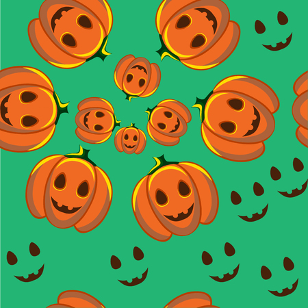 jointless: Beautiful art creative colorful halloween holiday wallpaper vector illustration of many orange pumpkins and smiles on green seamless background