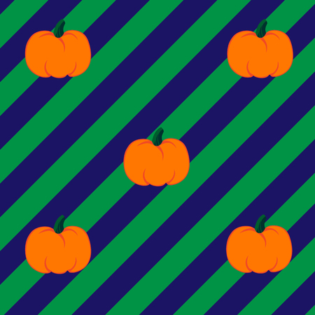 jointless: Beautiful art creative colorful halloween holiday wallpaper vector illustration of many orange pumpkins on striped green and violet seamless background