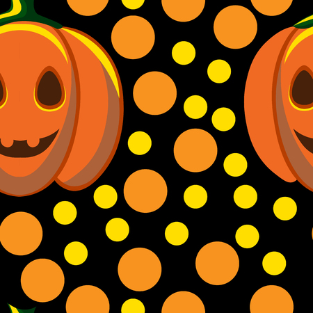 jointless: Beautiful art creative colorful halloween holiday wallpaper vector illustration of many yellow and orange rounds and pumpkins on black seamless background Illustration