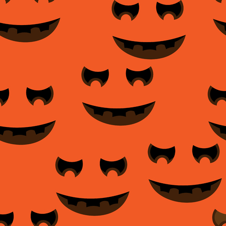jointless: Beautiful art creative colorful halloween holiday wallpaper vector illustration of many black and brown pumpkin smiles on orange seamless background Illustration