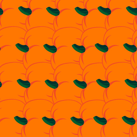 jointless: Beautiful art creative colorful halloween holiday wallpaper vector illustration of many orange pumpkin vegetables in row as seamless background Illustration