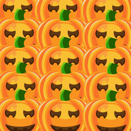 jointless: Beautiful art creative colorful halloween holiday wallpaper vector illustration of many orange pumpkins with smiling faces in row as seamless background Illustration