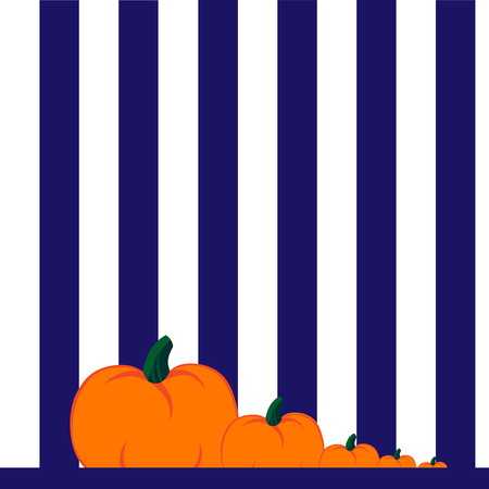 striped wallpaper: Beautiful art creative colorful halloween holiday wallpaper vector illustration of few orange pumpkins lying on ground on striped white and blue seamless background Illustration