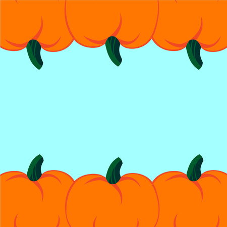 jointless: Beautiful art creative colorful halloween holiday wallpaper vector illustration of many orange pumpkin in row up and down on light blue seamless background