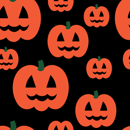 jointless: Beautiful art creative colorful halloween holiday wallpaper vector illustration of many orange pumpkin on black seamless background