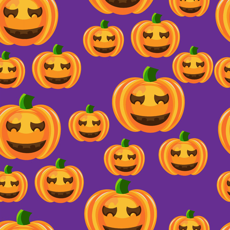 jointless: Beautiful art creative colorful halloween holiday wallpaper vector illustration of many orange pumpkins on violet seamless background