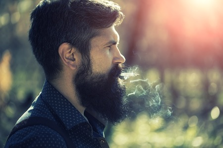 senior smoking: Closeup portrait side view of one senior serious man with long lush beard holding in mouth and smoking unhealthy cigarette with smoke sunny day outdoor on natural background, horizontal picture
