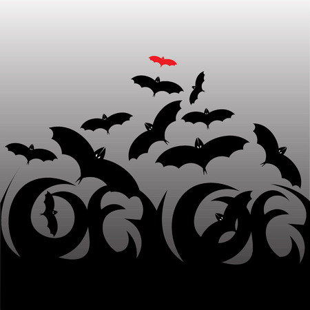 flying bats: Beautiful art creative colorful halloween holiday wallpaper vector illustration of cover with black and red flying bats on grey background Illustration