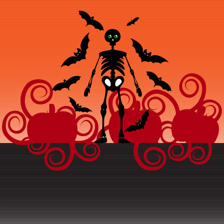 flying bats: Beautiful art creative colorful halloween holiday wallpaper vector illustration of cover with black skeleton flying bats and red pumpkins on grey and orange background