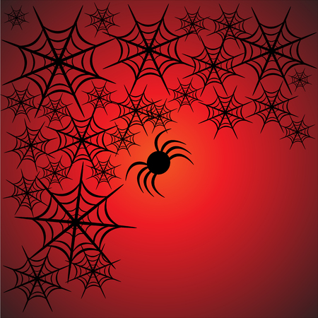 Beautiful art creative colorful halloween holiday wallpaper vector illustration frame of many black spiders with web on red background