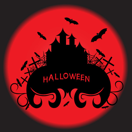 flying bats: Beautiful art creative colorful halloween holiday wallpaper vector illustration of one black big castle with plants and flying bats with text on red round and grey backdrop