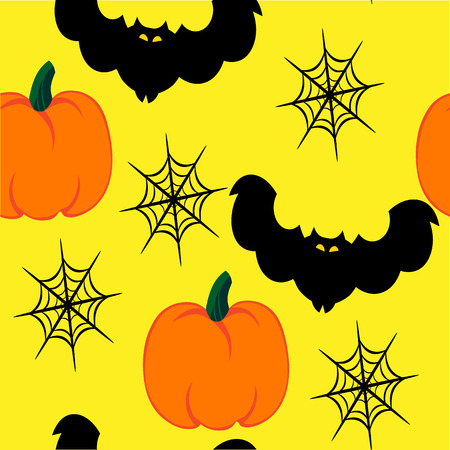 spider web: Beautiful art creative colorful halloween holiday wallpaper vector illustration of many black bats spider web and orange pumpkins on yellow joinless background