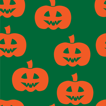 jointless: Beautiful art creative colorful halloween holiday wallpaper vector illustration of many orange pumpkins on green joinless background