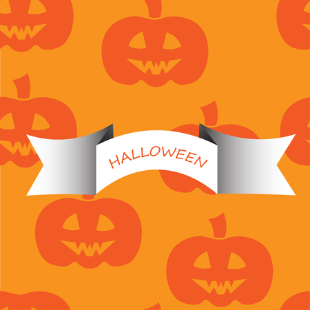 jointless: Beautiful art creative colorful halloween holiday wallpaper vector illustration of many orange pumpkins with text on yellow joinless background Illustration